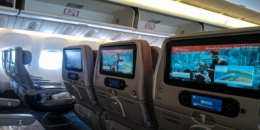 Emirates Airlines economy class television
