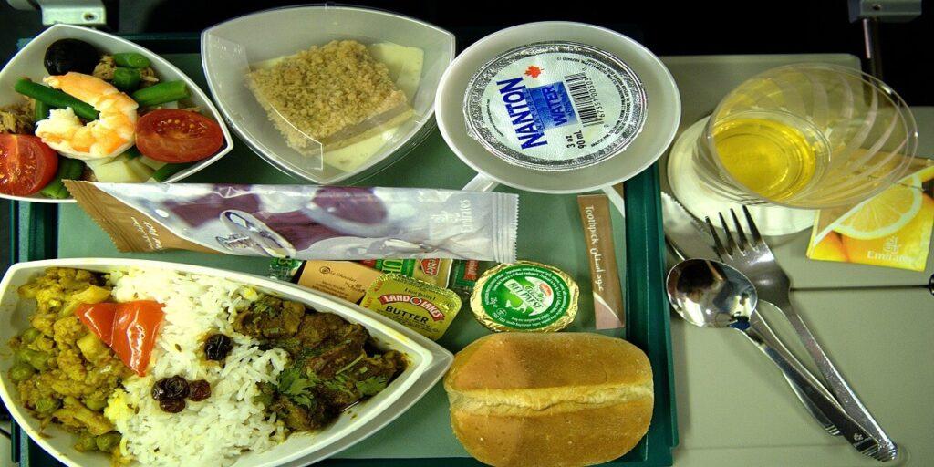 Emirates economy class dinner