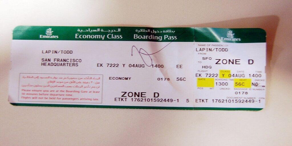 Emirates economy class ticket