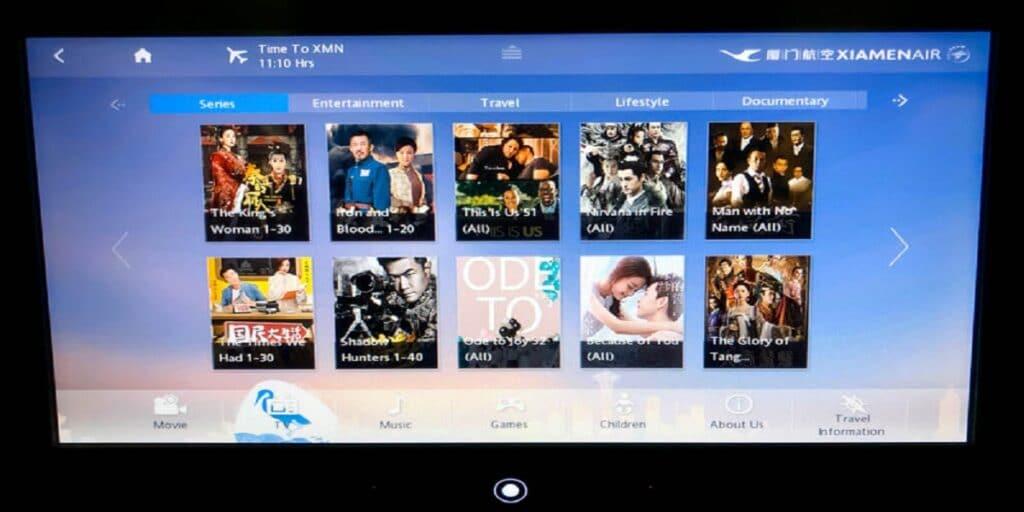 Xiamen Air 787-8 Economy Class inflight Entertainment